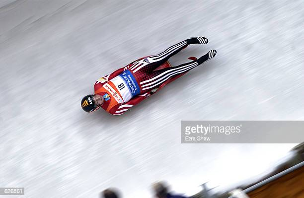 Martin Abentung of Austria during the men's singles of the Luge World Cup at Mt Van Hoevenberg in Lake Placid New York DIGITAL IMAGE Mandatory Credit...