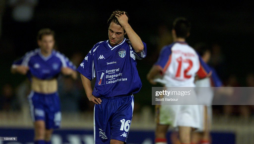 Massimo Murdocca #16 of South Melbourne is dejected after the round 6 NSL match between Northern Spirit and South Melbourne played at North Sydney Oval in Sydney, Australia. Northern Spirit defearted South Melbourne 1-0. DIGITAL IMAGE. Mandatory Credit: Scott Barbour/ALLSPORT