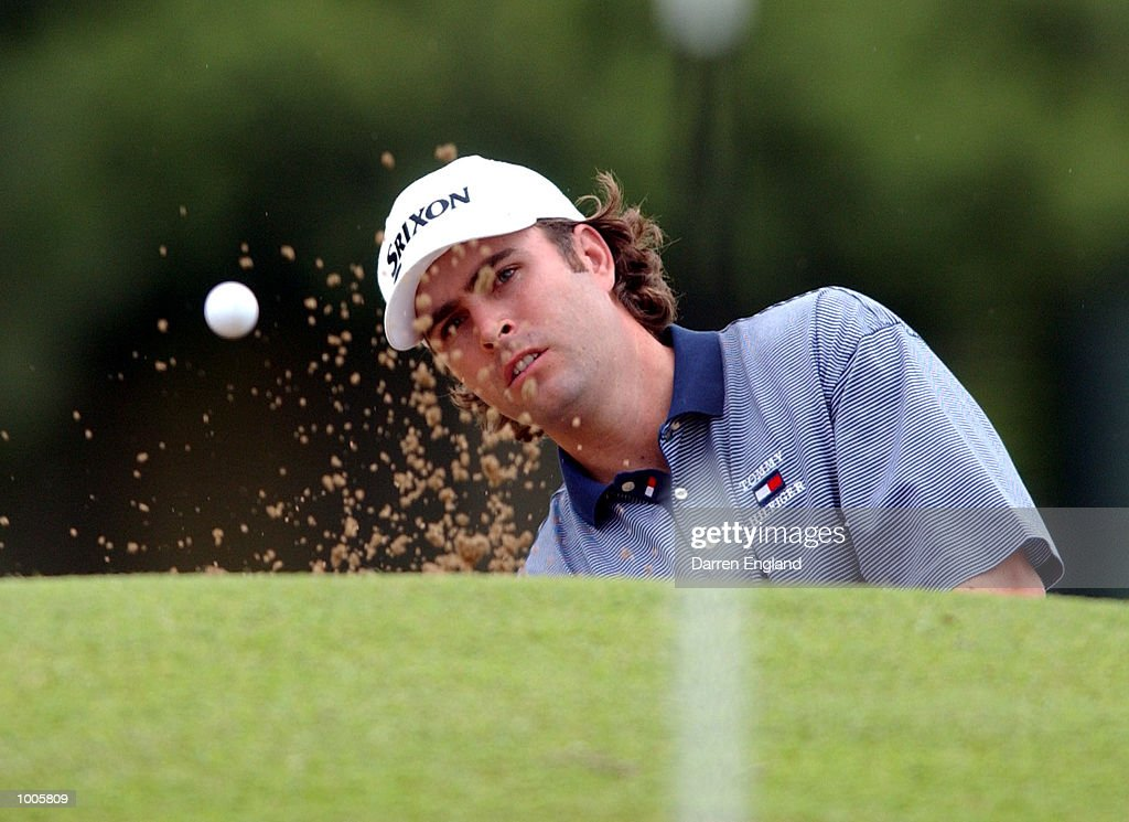 Matthew Goggin of Australia chips on to the 14th green during the first round of the Australian PGA Championship being played at Royal Queensland Golf Club in Brisbane, Australia. He finished his round at 6 under par. DIGITAL IMAGE. Mandatory Credit: Darren England/ALLSPORT