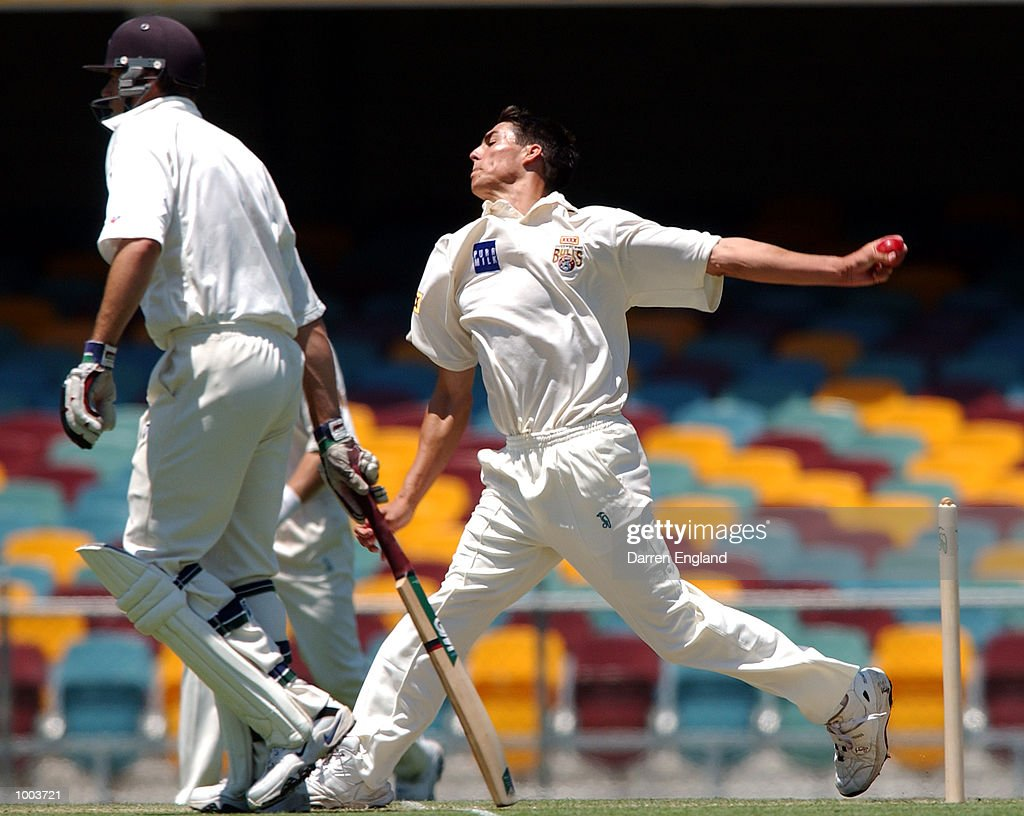 Mitchell Johnson of Queensland in action against New Zealand during the New Zealand cricket teams tour match against Queensland played at the Gabba in Brisbane, Australia. DIGITAL IMAGE. Mandatory Credit: Darren England/ALLSPORT