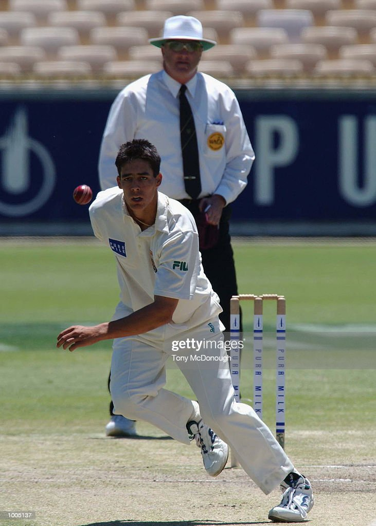 Mitchell Johnson of the Queensland Bulls in action during Day 4 of the Pura Cup match between the Western Warriors and the Queensland Bulls at the WACA ground in Perth, Australia. DIGITAL IMAGE Mandatory Credit: Tony McDonough/ALLSPORT Mandatory Credit: Tony McDonough/ALLSPORT