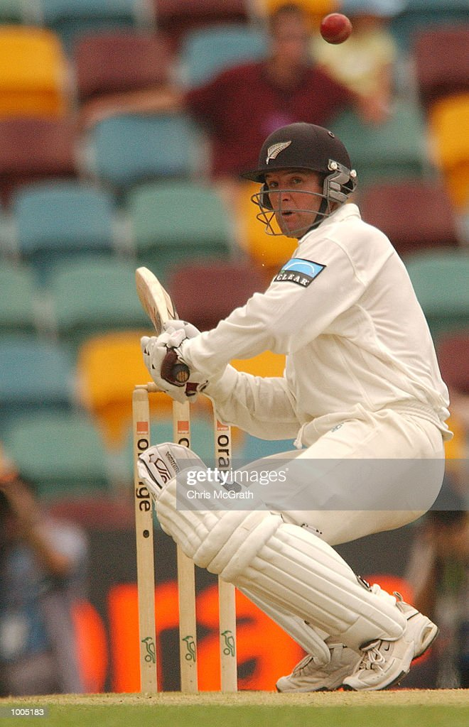 Nathan Astle of New Zealand ducks under a Brett Lee bouncer during day four of the first cricket test between Australia and New Zealand held at the Gabba, Brisbane, Australia, DIGITAL IMAGE Mandatory Credit: Chris McGrath/ALLSPORT