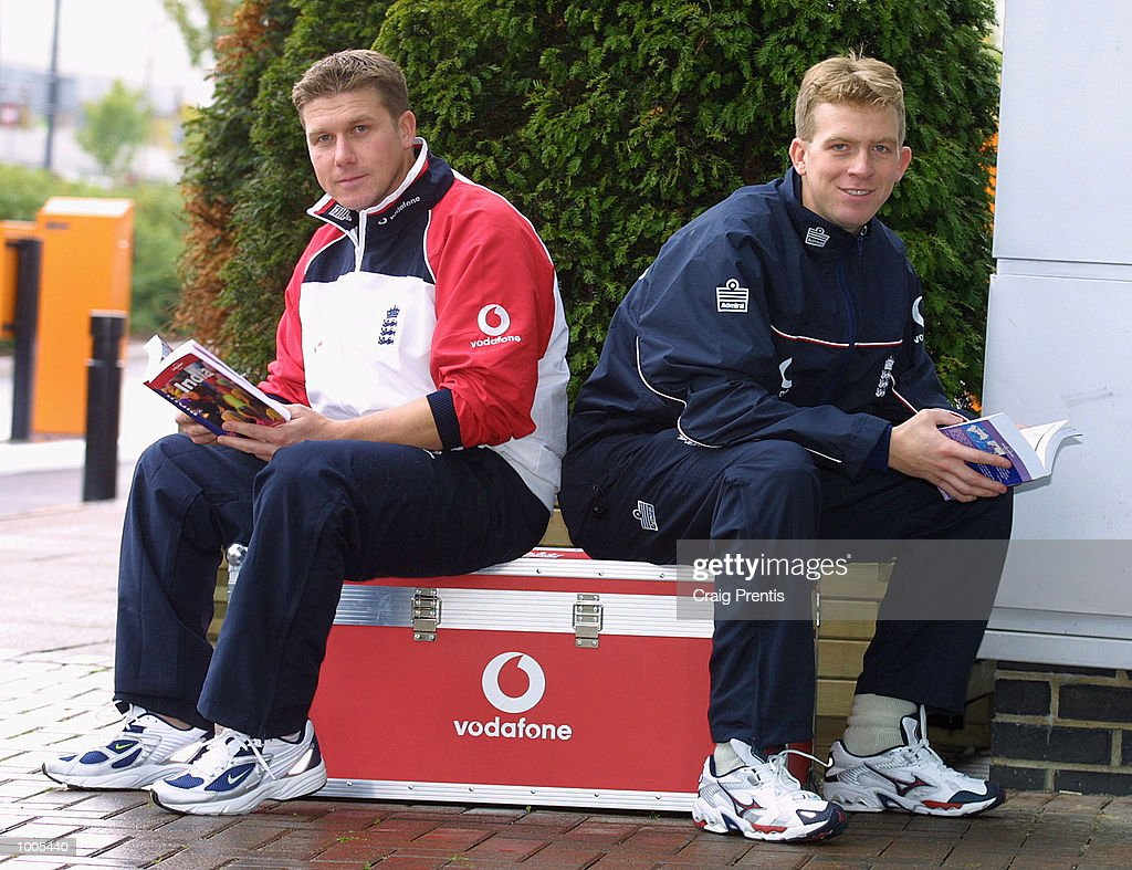 New England squad members Martyn Ball (left) and Richard Dawson get some essential reading in prior to the team's flight to India for the forthcoming test series, following a press conference at the Marriott Hotel, Heathrow. DIGITAL IMAGE Mandatory Credit: Craig Prentis/ALLSPORT