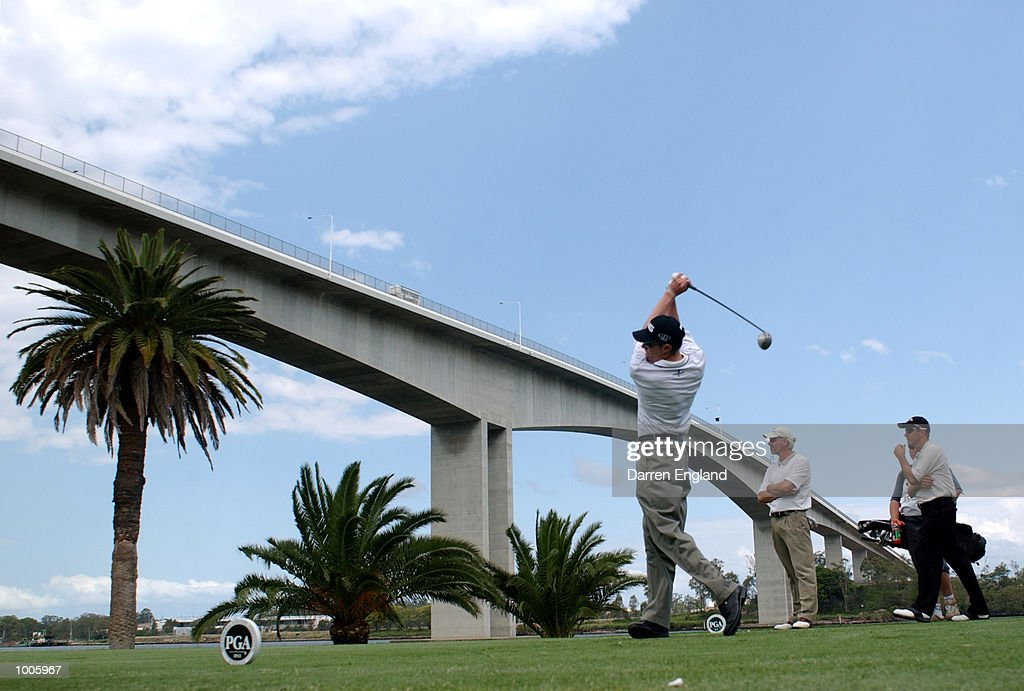 Nick O''Hern of Australia tees off on the 12th tee during the second round of the Australian PGA Championship being played at Royal Queensland Golf Club in Brisbane, Australia. He finished his round at six under par. DIGITAL IMAGE. Mandatory Credit: Darren England/ALLSPORT