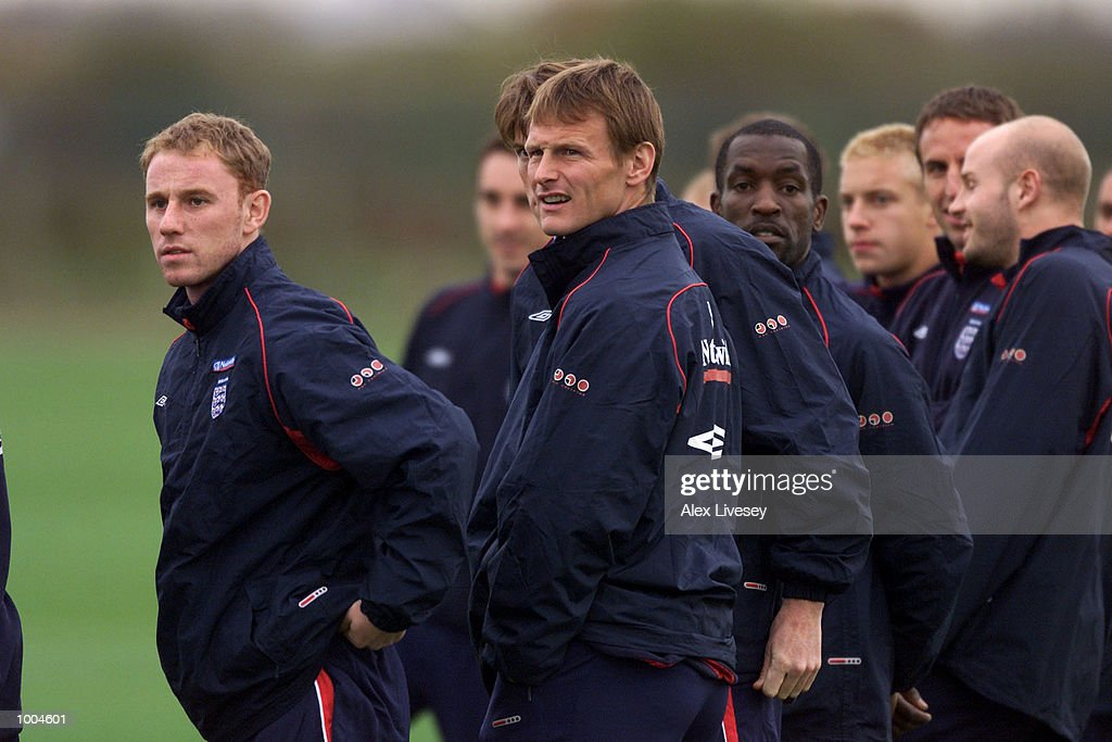 Nicky Butt and Teddy Sheringham during today's England training session at the Carrington Training Ground in Carrington, Manchester. DIGITAL IMAGE. Mandatory Credit: Alex Livesey/ALLSPORT