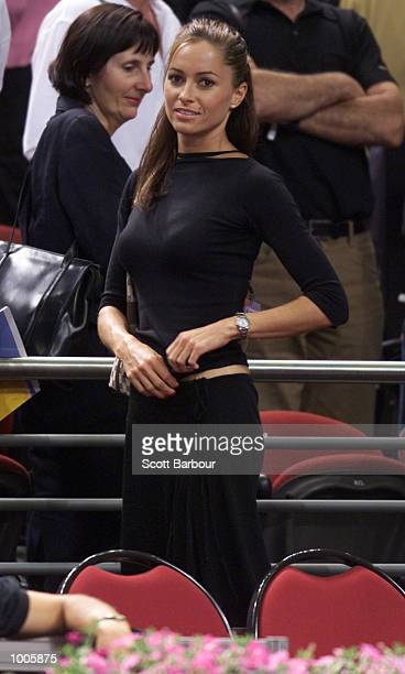 Pat Rafter's girlfriend Lara Feltham during the Patrick Rafter of Australia against Sebastien Grosjean of France match during day three of the Tennis...