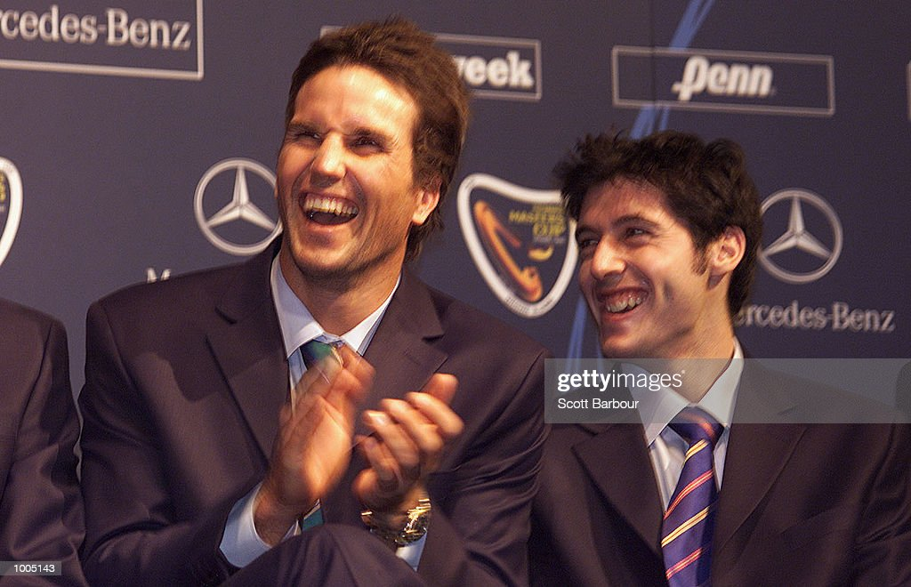 Patrick Rafter (left) of Australia and Sebastien Grosjean of France laugh during a media conference in preparation for the Tennis Masters Cup in Sydney, Australia. DIGITAL IMAGE. Mandatory Credit: Scott Barbour/ALLSPORT