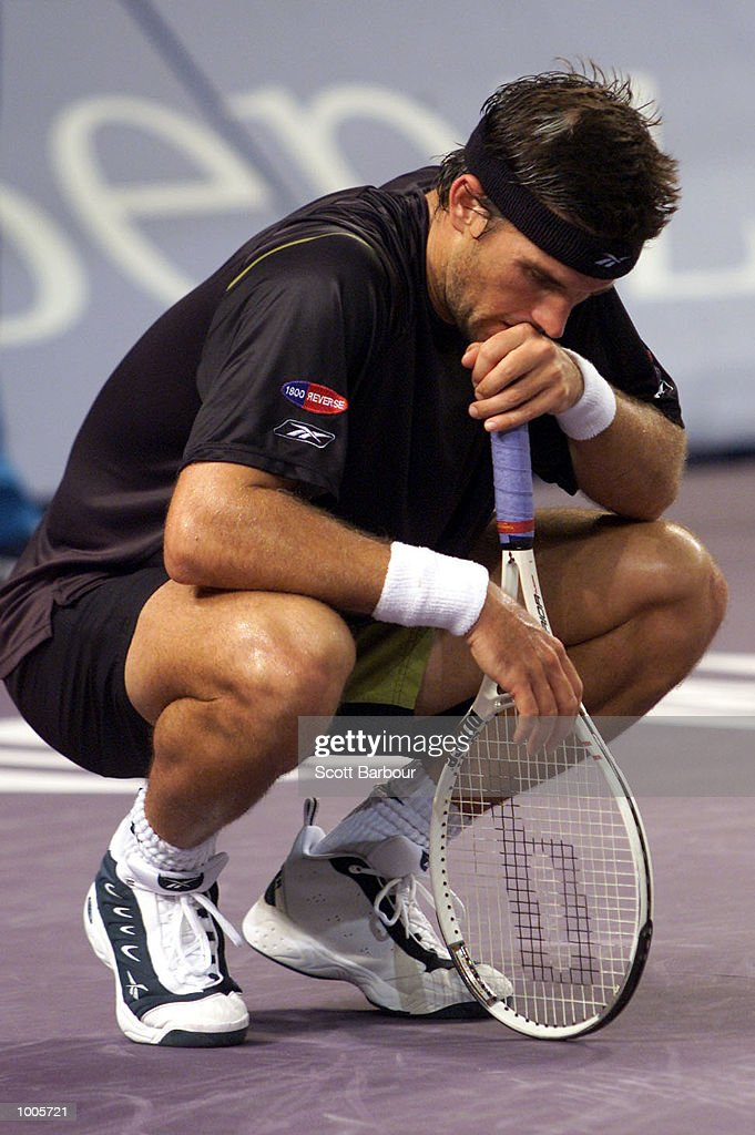 Patrick Rafter of Australia is dejected during his match against Sebastien Grosjean of France during day three of the Tennis Masters Cup held at the Sydney Superdome in Sydney, Australia. DIGITAL IMAGE. Mandatory Credit: Scott Barbour/ALLSPORT
