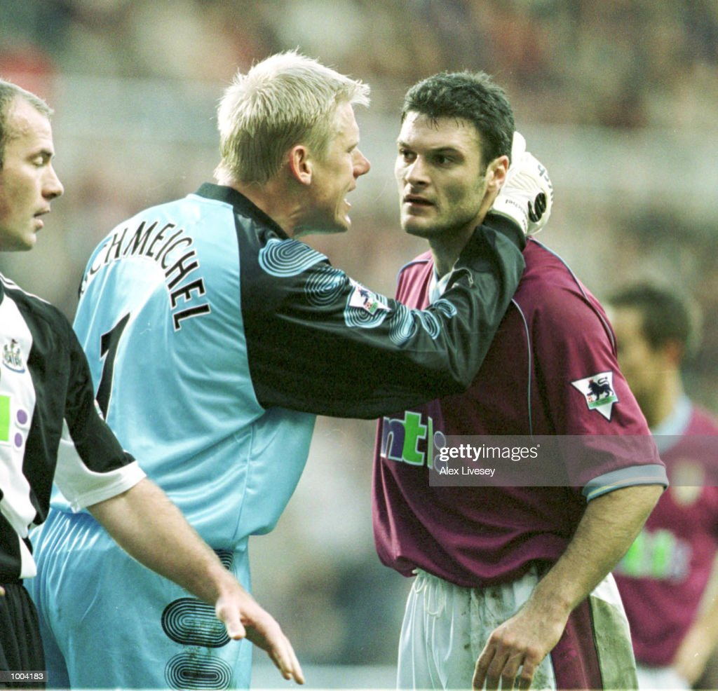 Peter Schmeichel of Villa speaks to Alpay Ozalan of Villa the match between Newcastle United and Aston Villa in the FA Barclaycard Premiership at St James Park, Newcastle. Mandatory Credit: Alex Livesey/ALLSPORT