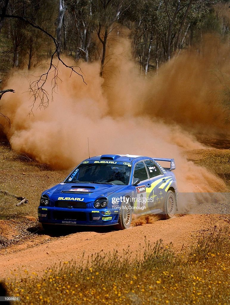 Peter Solberg and co-driver, Phil Mills put theirSubaru Impreza WRC 2001 to the test on the outback bush tracks around Mundaring during the 19.98 km Special Stage Flynn's Short of Leg 1 of the Telstra Rally Australia at Perth, Australia.DIGITAL IMAGE Mandatory Credit: Tony McDonough/ALLSPORT