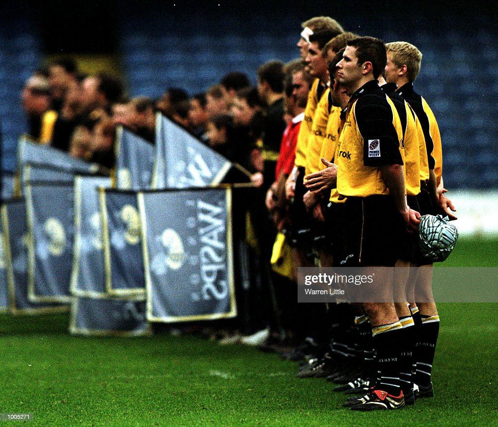 Players and officals observe the rememberance silance during the Zurich Premiership match between London Wasps and the Newcastle Falcons at Loftus Road, London. Mandatory Credit: Warren Little/ALLSPORT
