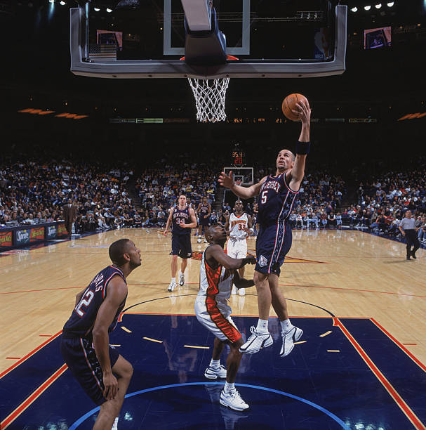 66bec1401 25 Nov 2001  Point guard Jason Kidd  5 of the New Jersey Nets shoots a layup  during the NBA game against the Golden State Warriors at the Arena in  Oakland ...