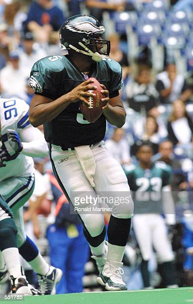 Quarterback Donovan McNabb of the Philadelphia Eagles throws against the Dallas Cowboys at Texas Stadium in Irving TX The Eagles defeat the Cowboys...