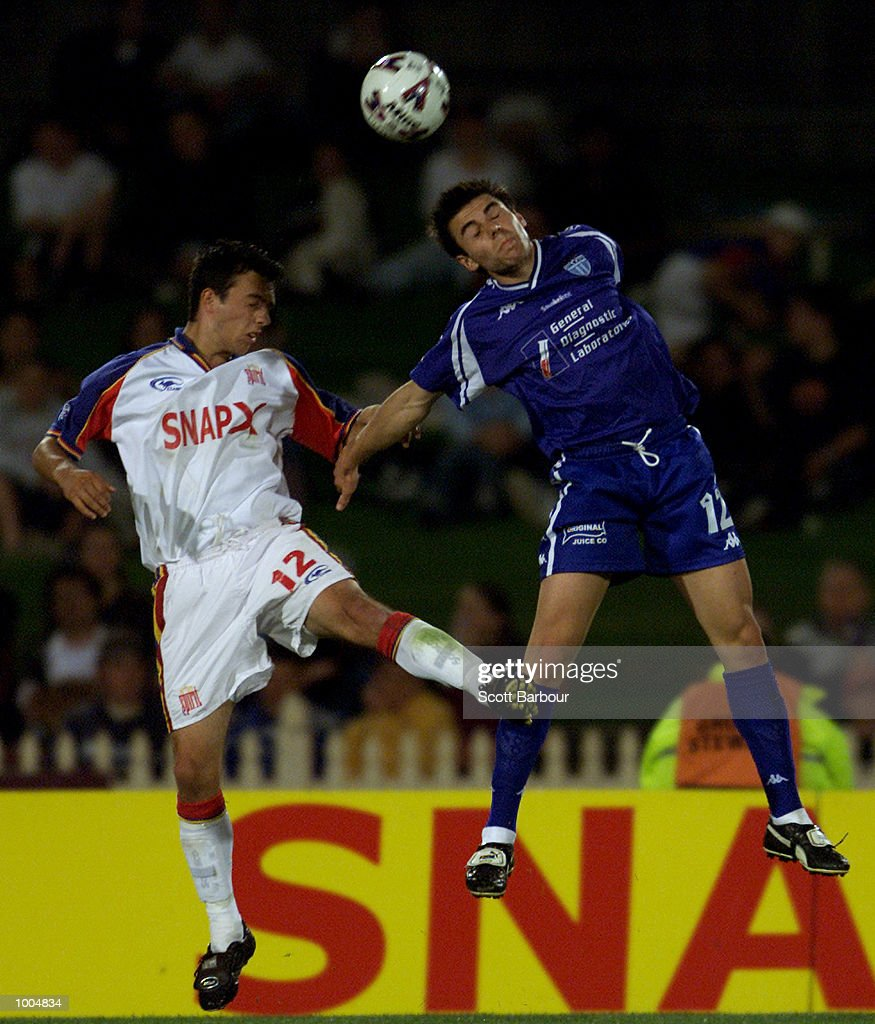 Ray Sekulovski (right) #12 of South Melbourne and John Hutchinson #12 of Northern Spirit compete for the ball during the round 6 NSL match between Northern Spirit and South Melbourne played at North Sydney Oval in Sydney, Australia. DIGITALIMAGE. Mandatory Credit: Scott Barbour/ALLSPORT