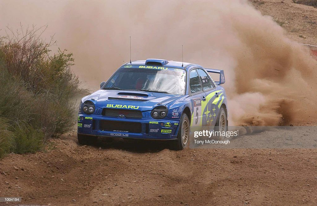 Richard Burns and co-driver Robert Reid put their Subaru Impreza WRC 2001 through the 4.19 km outback bush tracks around the Sotico Special Stage to take 2nd position of the Telstra Rally Australia at Perth, Australia. DIGITAL IMAGE Mandatory Credit: Tony McDonough/ALLSPORT