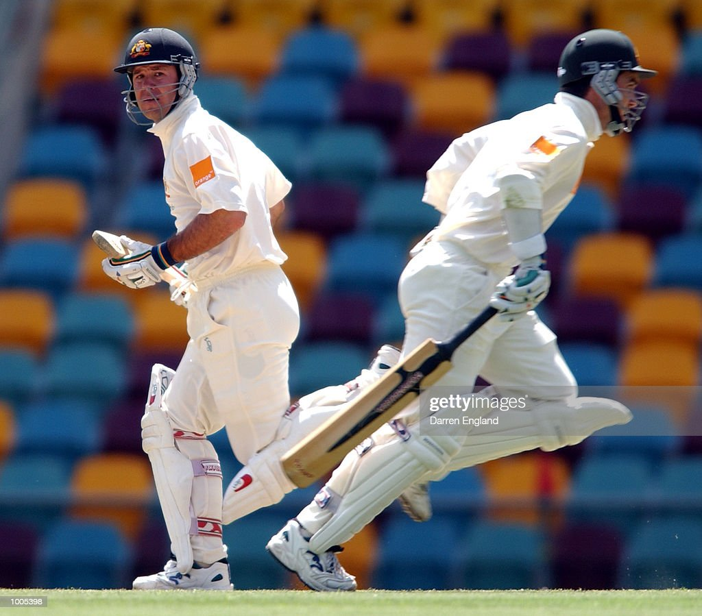 Ricky Ponting and Justin Langer of Australia run between wickets against New Zealand during day five of the first Cricket test between Australia and New Zealand played at the Gabba in Brisbane, Australia. DIGITAL IMAGE. Mandatory Credit: Darren England/ALLSPORT