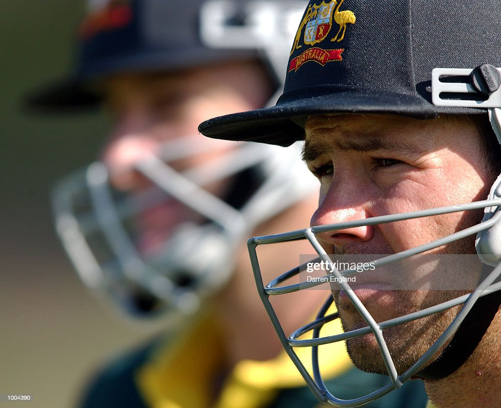 Ricky Ponting and Mark Waugh of Australia prepare to bat in the nets during training for the Australian Cricket team in preperation for the first test against New Zealand. The Training session was held at the Allan Border Field in Brisbane,Australia. DIGITAL IMAGE. Mandatory Credit: Darren England/ALLSPORT