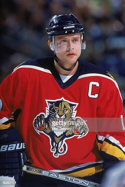 Right wing Pavel Bure of the Florida Panthers looks on against the Buffalo Sabres during the NHL game at HSBC Arena in Buffalo New York The Panthers...