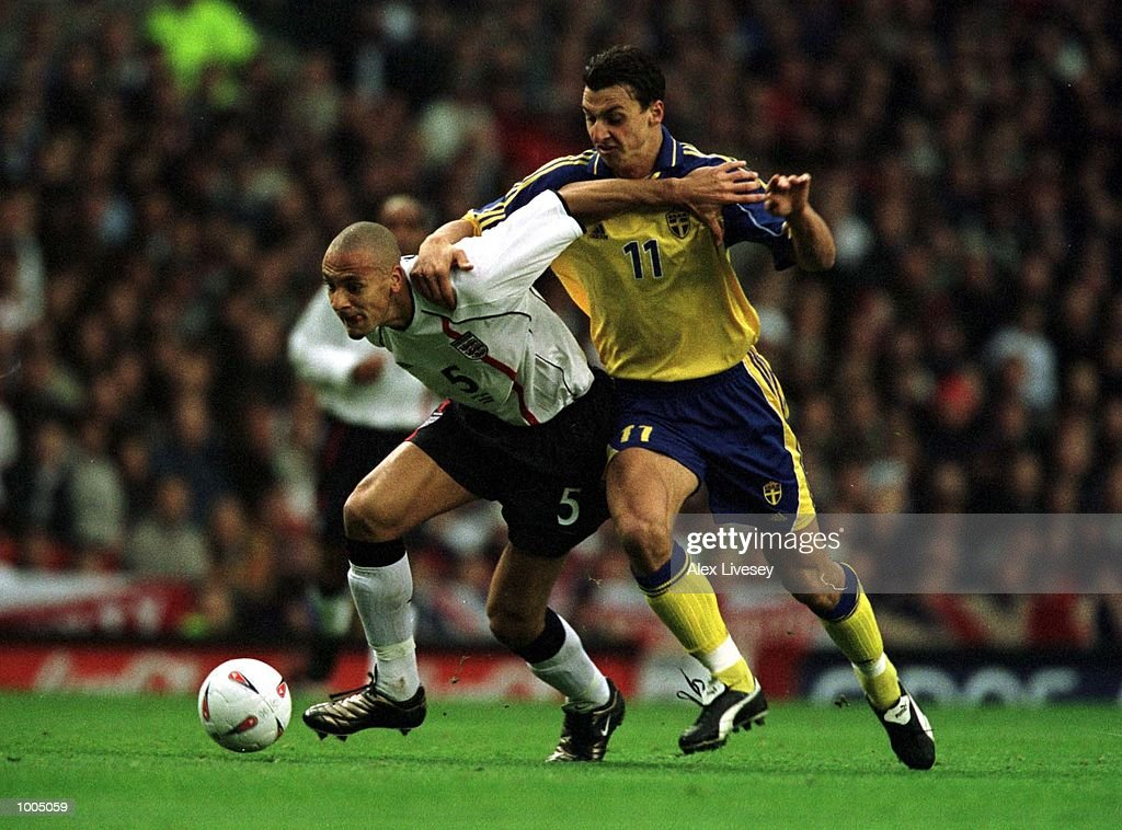 Rio Ferdinand of England clashes with Zlatan Ibrahimovic of Sweden scores the equalising goal during the England v Sweden International friendly at Old Trafford, Manchester. Mandatory Credit: Alex Livesey/ALLSPORT