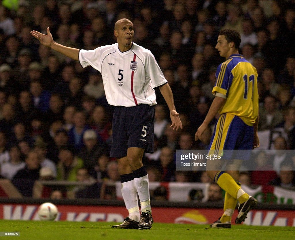 Rio Ferdinand of England makes his point during the England v Sweden International friendly at Old Trafford, Manchester. Mandatory Credit: Ross Kinnaird/ALLSPORT