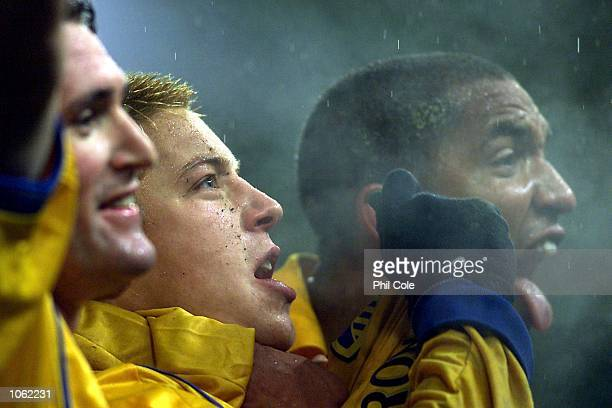 Robbie Keane Alan Smith and Oliver Dacourt of Leeds celebrates after the second goal by Ian Harte during the UEFA Cup match between Grasshopper Club...