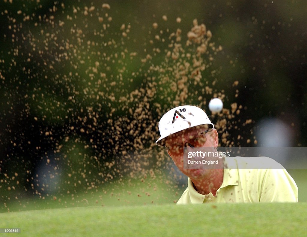 Robert Allenby of Australia chips on to the 14th green during the first round of the Australian PGA Championship being played at Royal Queensland Golf Club in Brisbane, Australia. He finished his round at 7 under par. DIGITAL IMAGE. Mandatory Credit: Darren England/ALLSPORT