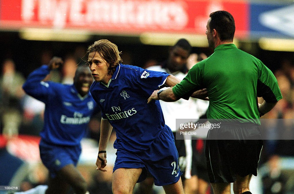 Sam Dalla Bona of Chelsea celebrates scoring the 2nd goal during the FA Barclaycard Premiership match between Chelsea and Ipswich Town at Stamford Bridge, London. Mandatory Credit: Phil Cole/ALLSPORT
