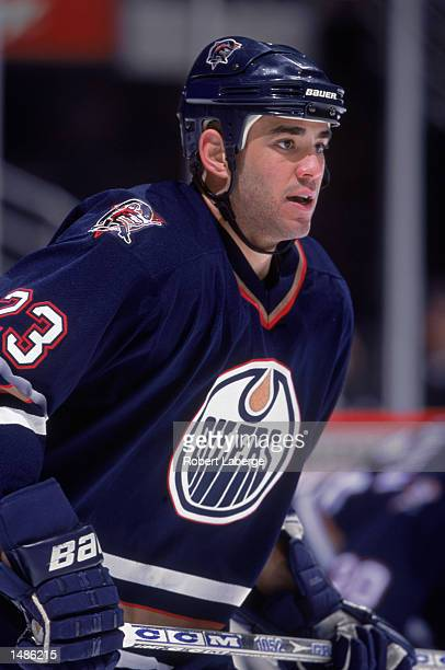 Sean Brown of the Edmonton Oilers looking on during the game against the Anaheim Mighty Ducks at the Arrowhead Pond in Anaheim California The Oilers...