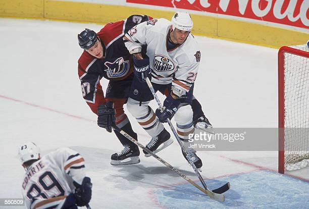 Sean Brown of the Edmonton Oilers moves into position during the game against the Vancouver Canucks at the GM Palace in Vancouver Canada The Oilers...