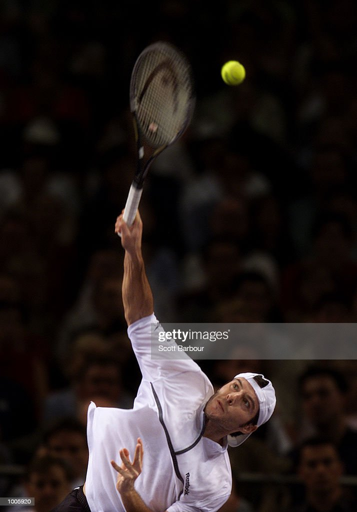 Sebastien Grojean of France in action during his match against Andre Agassi of USA during day four of the Tennis Masters Cup held at the Sydney Superdome in Sydney, Australia. DIGITAL IMAGE. Mandatory Credit: Scott Barbour/ALLSPORT