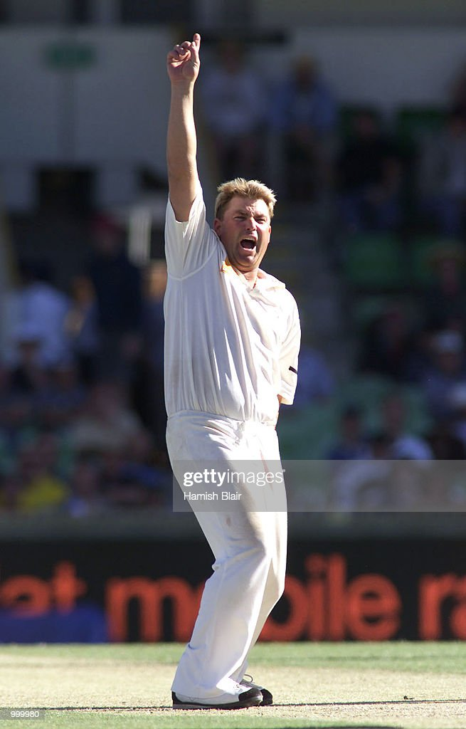 Shane Warne of Australia appeals unsuccessfully during day one of the Third Test between Australia and New Zealand played at The WACA, Perth, Australia. DIGITAL IMAGE. Mandatory Credit: Hamish Blair/ALLSPORT