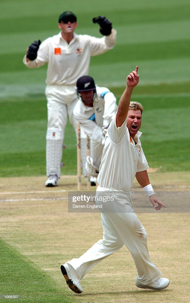 Shane Warne of Australia appeals unsuccessfully for the wicket of Nathan Astle of New Zealand during day four of the first Cricket test between Australia and New Zealand played at the Gabba in Brisbane, Australia. DIGITAL IMAGE. Mandatory Credit: Darren England/ALLSPORT
