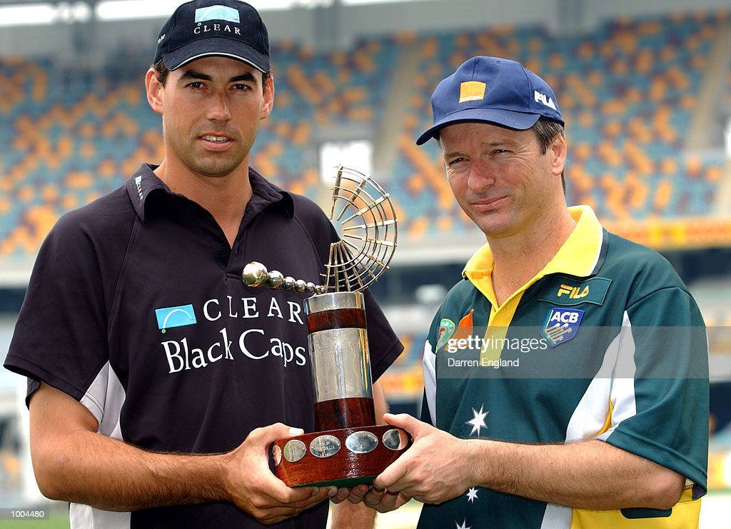 Stephen Fleming (captain) of New Zealand and Steve Waugh (captain) of Australia pose for a photo holding the Trans-Tasman Trophy. The teams are preparing to play the First Cricket test at the Gabba in Brisbane, Australia. DIGITAL IMAGE. Mandatory Credit: Darren England/ALLSPORT