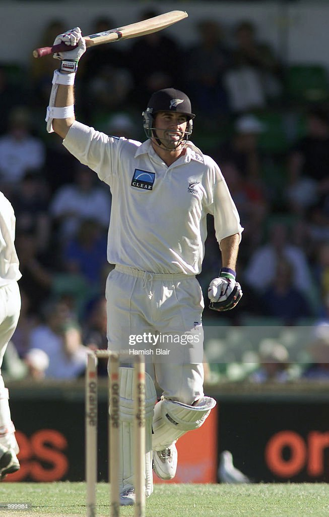 Stephen Fleming of New Zealand reaches 100 during day one of the Third Test between Australia and New Zealand played at The WACA, Perth, Australia. DIGITAL IMAGE. Mandatory Credit: Hamish Blair/ALLSPORT