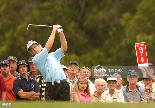 Stuart Appleby of Australia in action on the 18th fairway during the final round of the Holden Australian Open Golf Tournament held at The Grand Golf...