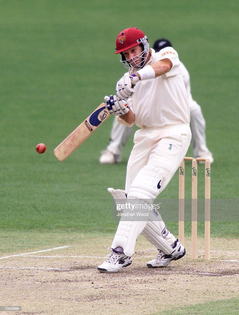 Stuart Law of Queenland in action during the third day of play between New Zealand and the Queensland Bulls at the Gabba, Brisbane, Australia. DIGITAL IMAGE. Mandatory Credit: Jonathan Wood/ALLSPORT