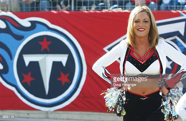 Tennessee Titans cheerleader in front of the team logo during the game at Adelphia Coliseum in Nashville Tennessee The Steelers defeated the Titans...