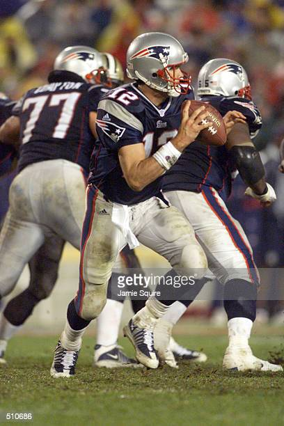 Tom Brady of the New England Patriots in action during the game against the New Orleans Saints at Foxboro Stadium in Foxboro Massachusettes The...