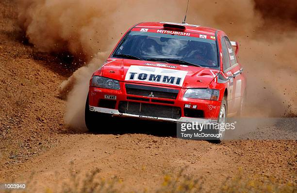 Tommi Makinen and codriver Timo Hantunen put their Mitsubishi Lancer Evolution WRC to the test on the outback bush tracks around Mundaring during the...