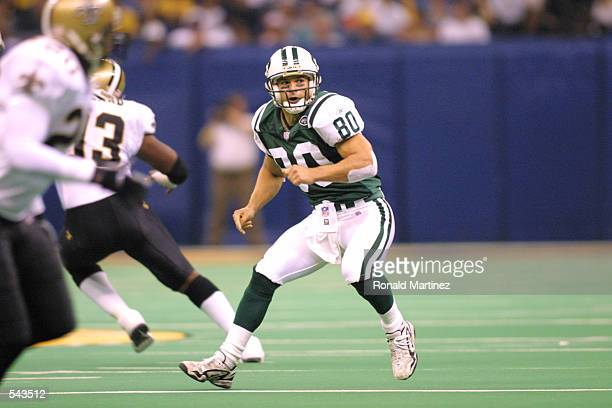 Wayne Chrebet of the New York Jets crosses the field against the New Orleans Saints during the game at Lousiana Superdome in New Orleans Louisiana...
