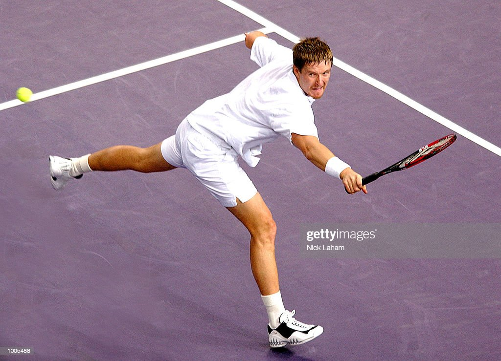 Yevgeny Kafelnikov of Russia in action during his match against Juan Carlos Ferrero of Spain during the Tennis Masters Cup held at the Sydney Superdome, Sydney, Australia. DIGITAL IMAGE Mandatory Credit: Nick Laham/ALLSPORT