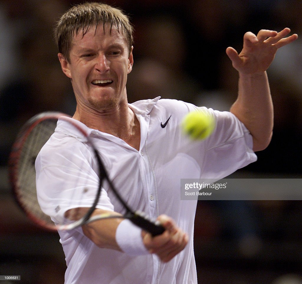 Yevgeny Kafelnikov of Russia in action during his match against Juan Carlos Ferrero of Spain during day two of the Tennis Masters Cup held at the Sydney Superdome in Sydney, Australia. DIGITAL IMAGE. Mandatory Credit: Scott Barbour/ALLSPORT