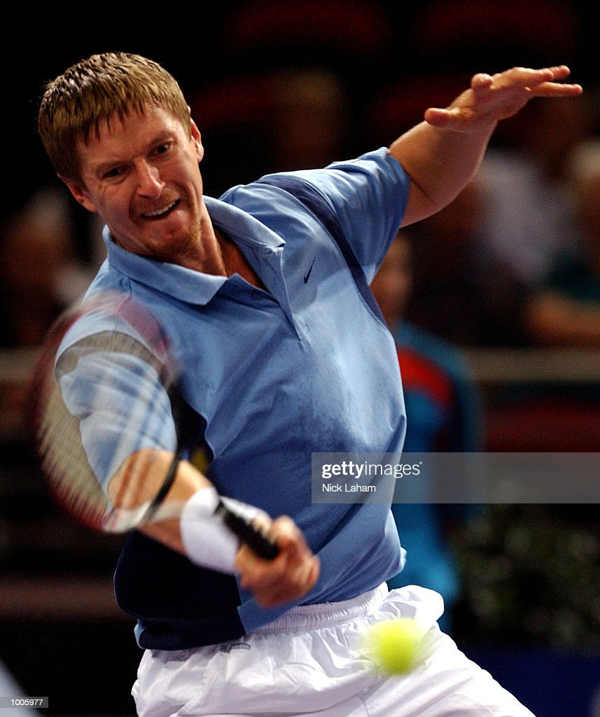 Yevgeny Kafelnikov of Russia in action during his match against Gustavo Kuerten of Brazil during the Tennis Masters Cup held at the Sydney Superdome, Sydney, Australia. DIGITAL IMAGE Mandatory Credit: Nick Laham/ALLSPORT
