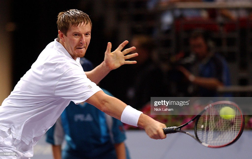 Yevgeny Kafelnikov of Russia in action during his match against Sebastien Grosjean during the first semi final at the Tennis Masters Cup held at the Sydney Superdome, Sydney, Australia. DIGITAL IMAGE Mandatory Credit: Nick Laham/ALLSPORT