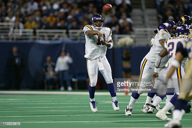 Daunte Culpepper of the Minnesota Vikings during the Vikings 4817 loss to the St Louis Rams at the Edward Jones Dome in St Louis MO