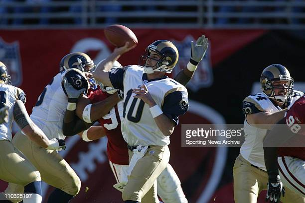 Marc Bulger of the St Louis Rams during the Rams 3027 victory over the Arizona Cardinals at Sun Devil Stadium in Tempe AZ