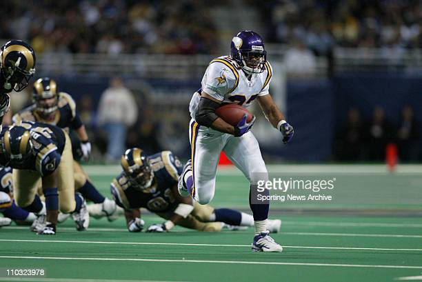 Michael Bennett of the Minnesota Vikings during the Vikings 4817 loss to the St Louis Rams at the Edward Jones Dome in St Louis MO