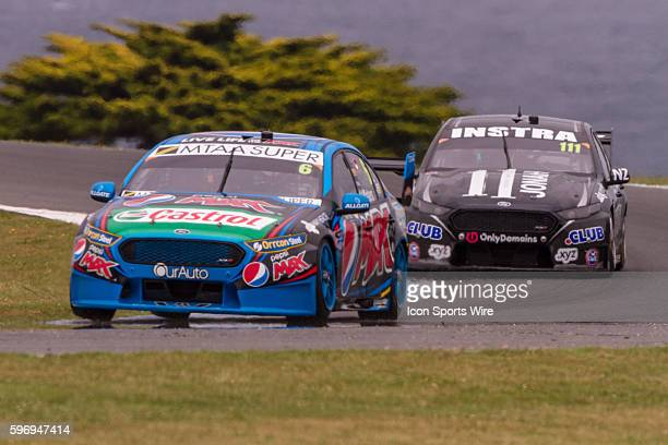 Chaz Mostert of the Pepsi Max Crew and Andre Heimgartner of Super Black Racing during qualifying for the V8 Supercars WD40 Philip Island Supersprint...