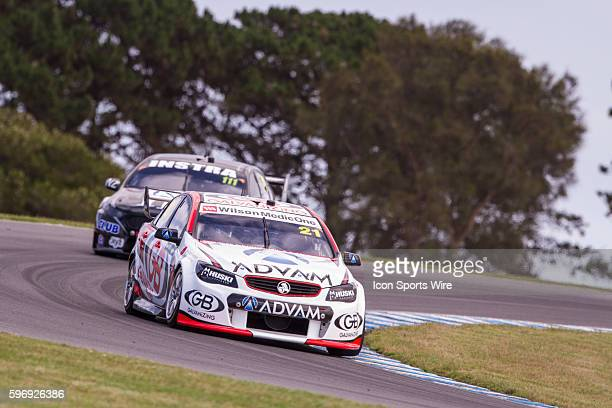Dale Wood of GB Galvanising Racing and Andre Heimgartner of Super Black Racing during practice for the V8 Supercars WD40 Philip Island Supersprint...