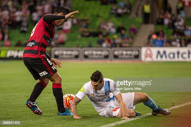 Dimas Delgado of the Western Sydney Wanderers and Corey Gameiro of Melbourne City contest the ball during the 6th round of the 201516 Hyundai ALeague...